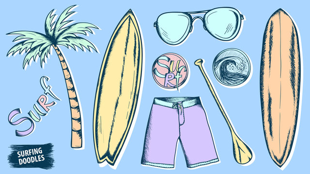 Surfing doodles. Summer sketches set. Ocean. Beach rest. Hand drawn stickers. Surfboard. Wave. Palm. Traveling or vacations design.