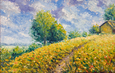 Garden Poster Honey Impressionism oil painting landscape paint art clouds, road to house, rural landscape, beautiful sky, hot summer
