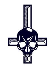 Satanic symbol with inverted skull dead aggressive head of Satan Devil Evil.