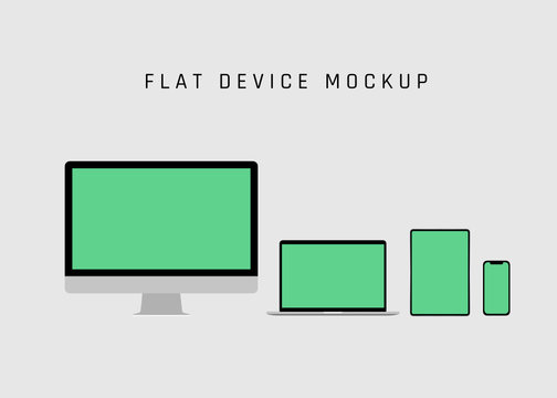 Computer, Laptop, Tablet and Mobile Phone, device on white background. Computer Device Mock up.