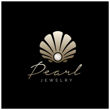 Beauty Luxury Elegant Pearl Shell Jewelry logo design