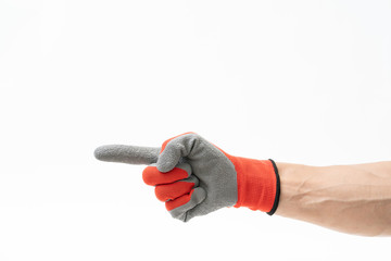 Papiers peints Rouge, noir, blanc Man hand with anti slip gloves on white background