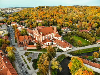 Aerial view of St. Anne's Church and neighbouring Bernardine Church, one of the most beautiful and probably the most famous buildings in Vilnius. Wall mural