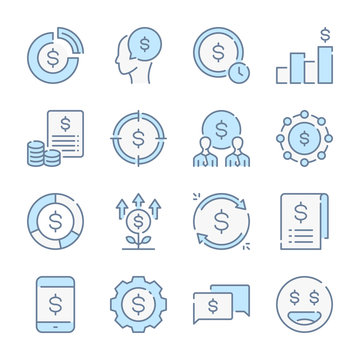 Funds, Savings and Income related blue line colored icons.
