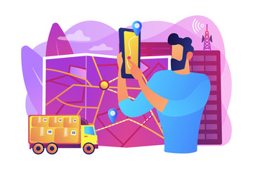 GPS tracker on postal agent truck. Watching delivery in real time. Post service tracking, parcel monitor, track and trace your shipment concept. Bright vibrant violet vector isolated illustration