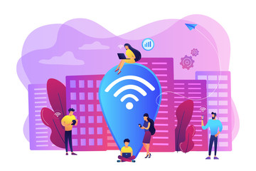 Surfing web, browsing through websites. Free internet, network. Public wi-fi hotspot, free wireless internet access, free wifi service concept. Bright vibrant violet vector isolated illustration