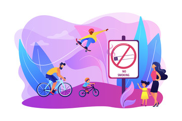 Weekend activities in park. Father riding bicycles with son. Active, healthy hobby. Smoke-free zone, no smoking area, tobacco free facility concept. Bright vibrant violet vector isolated illustration