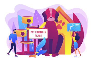 Pet-friendly, animal friendly hotel, restaurant, bar amenities Pet friendly place, we love pets, best place to stay with pets concept. Bright vibrant violet vector isolated illustration