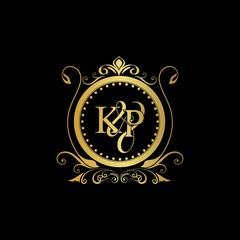 K & P / KP logo initial vector mark. Initial letter K and P KP logo luxury vector mark, gold color elegant classical symmetric curves decor.