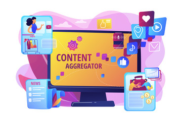 Different data compilation. Collection of media. Content aggregator, best media content here, aggregated content for resale concept. Bright vibrant violet vector isolated illustration