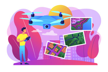 Drone, quadcopter operator, pilot making photos. UAV with camera. Aerial photography, air survey services, drone photo of your event concept. Bright vibrant violet vector isolated illustration