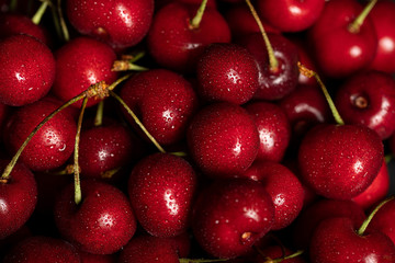 top view of red delicious and ripe cherries with water drops