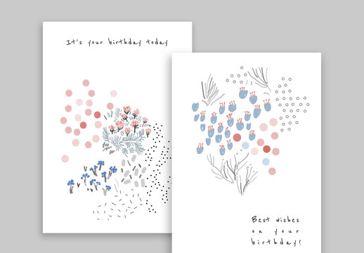 Hand Drawn Floral Birthday Card Set