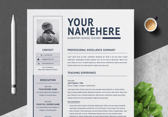 Resume Layout with Gray and Navy Accents
