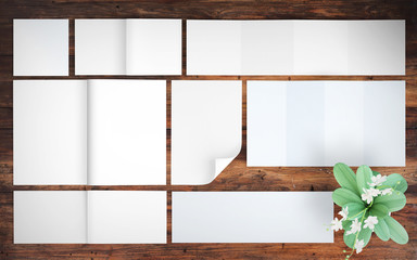 print blank elements mockup top view wood background