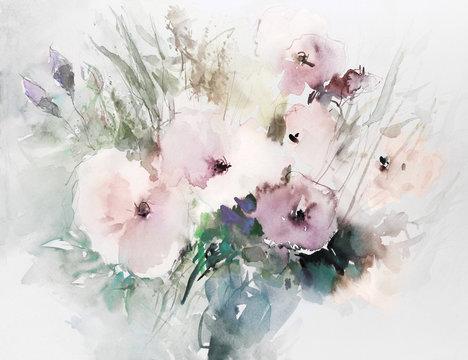 mohnblumen malerei aquarell strauß hell