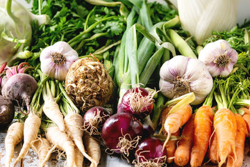 Variety of root garden vegetables carrot, garlic, purple onion, beetroot, parsnip and celery with tops over white marble background.