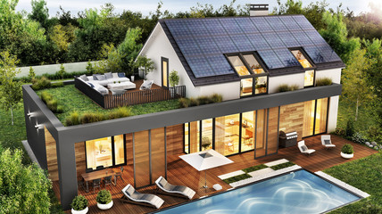 Beautiful house with roof terrace and solar panels. Exterior and interior design of a luxury home with a swimming pool.