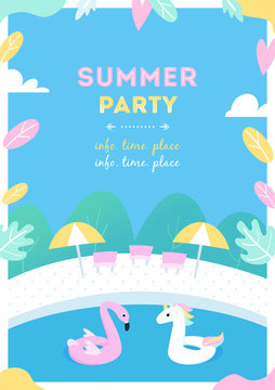 Summer Pool Party or Activity for Kids. Vector Design Poster