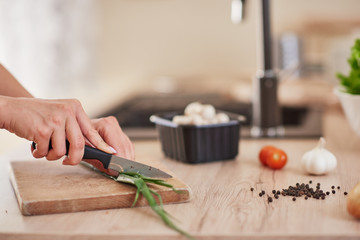 Cut out picture of woman chopping leek on cutting board in kitchen.