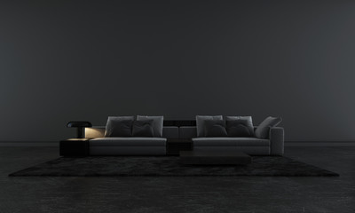 Modern black lounge and living room interior design and black pattern wall background