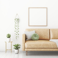 Poster mockup with square frame on empty white wall in living room interior with tan brown leather sofa, round pillow and plants in pots. 3D rendering, illustration.