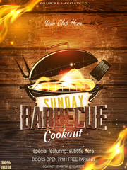 BBQ party invitation template on wooden. Summer Barbecue weekend flyer. Grill vector design with grill elements. Vector design for celebration, invitation, greeting card.