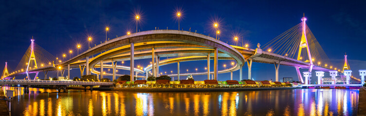 Panorama of Bhumibol Bridge in Thailand.
