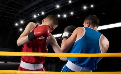 Box professional match on dark background