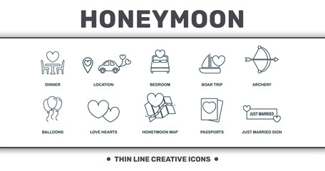 Honeymoon icons thin line set collection. Includes creative elements such as Dinner, Rings, Badroom, Boar Trip, Archery, Love Hearts and Honeymoon Map premium icons