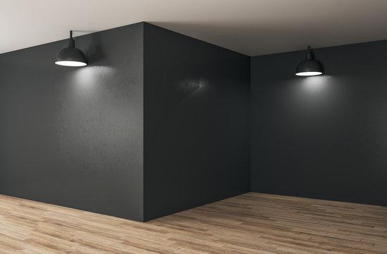 Minimalistic interior with copy space