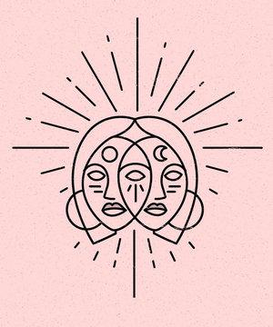 Illustration of female goddess on pink background