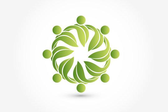 Leaf health nature icon logo vector