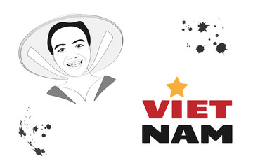 Vietnam postcard. Vector graphic with smiling Vietnamese woman character and the country name.