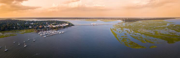 180 degree aerial panorama of Beaufort, South Carolina, USA.
