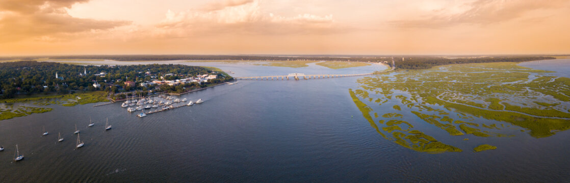 180 degree aerial panorama of Beaufort, South Carolina, USA.