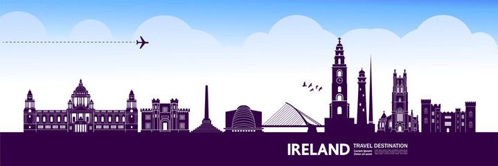 Fototapete - Ireland travel destination grand vector illustration.