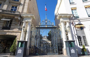 The entrance to the Ministry of the Interior in Place Beauvau in Paris, France.
