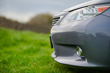 front of the grey car on the grass. Fototapete
