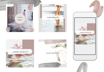 Social Media Post Layouts with Paint Strokes