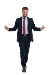 Happy businessman walking and welcoming
