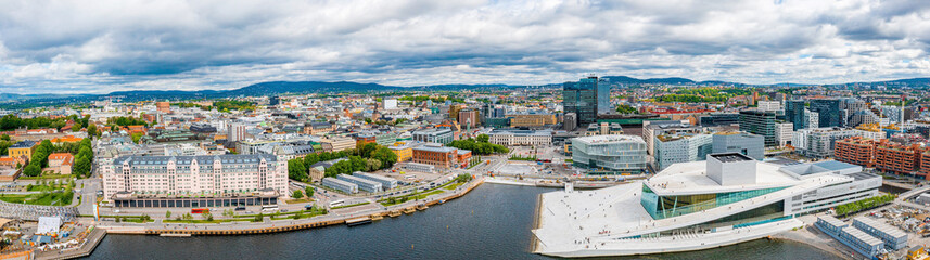 Aerial panoramic view of the Opera House and new business quarter. Oslo, Norway.