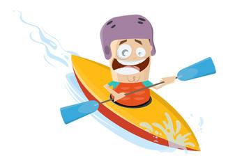funny cartoon man using a kayak