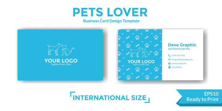 Pets business card design template