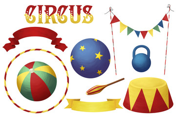Bright circus clip art set white isolated, colorful individual elements kit