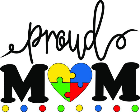 Proud mom puzzle decoration for T-shirt