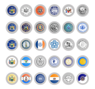 Set of vector icons. Flags and seals of New York state, USA. 3D illustration.