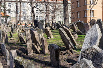 Detail of old jewish graveyard in Prague