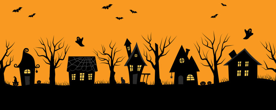 Halloween houses. Creepy village. Seamless border. Black silhouettes of houses and trees on an orange background. There are also bats, ghosts, pumpkins and the cat in the picture. Vector illustration