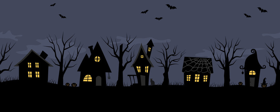 Halloween houses. Spooky village. Seamless border. Black silhouettes of houses and trees on a dark blue background. There are also bats, pumpkins and a cat in the picture. Vector illustration